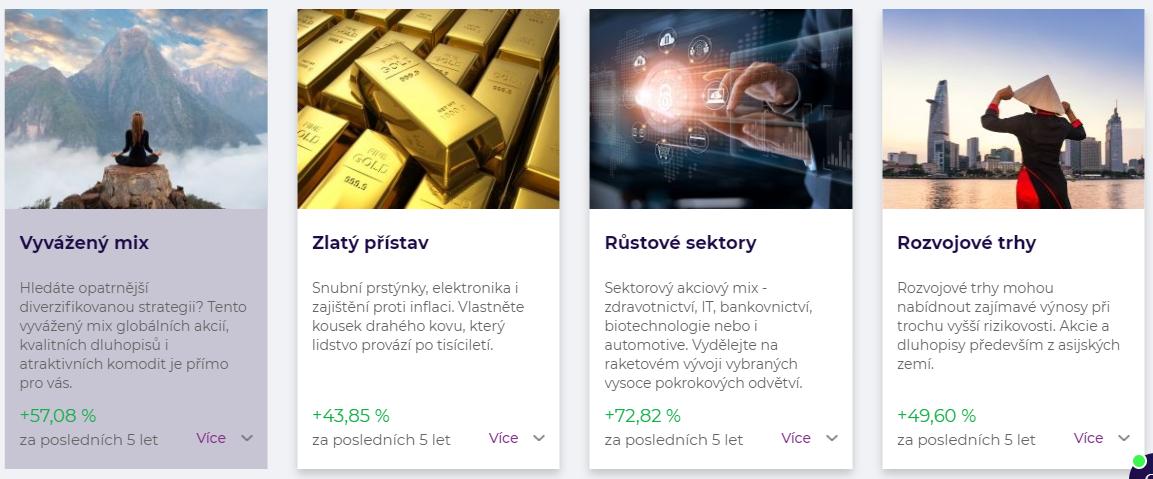 Screenshot investiční platformy portu